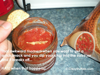 That awkward moment wen you want to get a quick snack and you dip your chip into the salsa jar and it breaks off...  HATE when that happens!