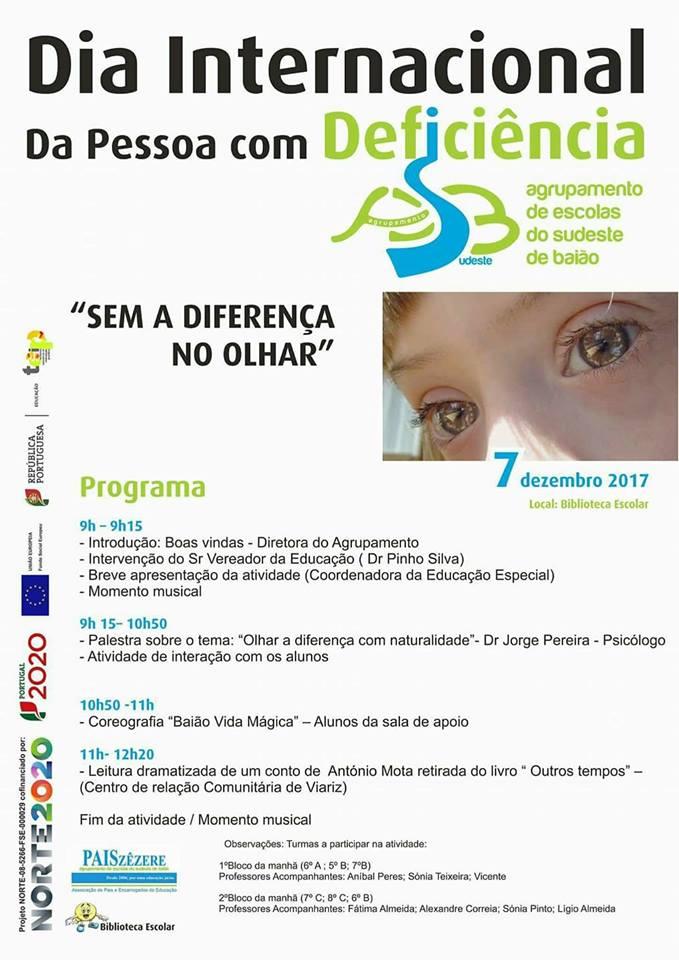 """Programa da atividade - """"Dia Internacional da Pessoa com Deficiência"""""""