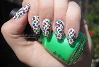 White with rainbow leopard print
