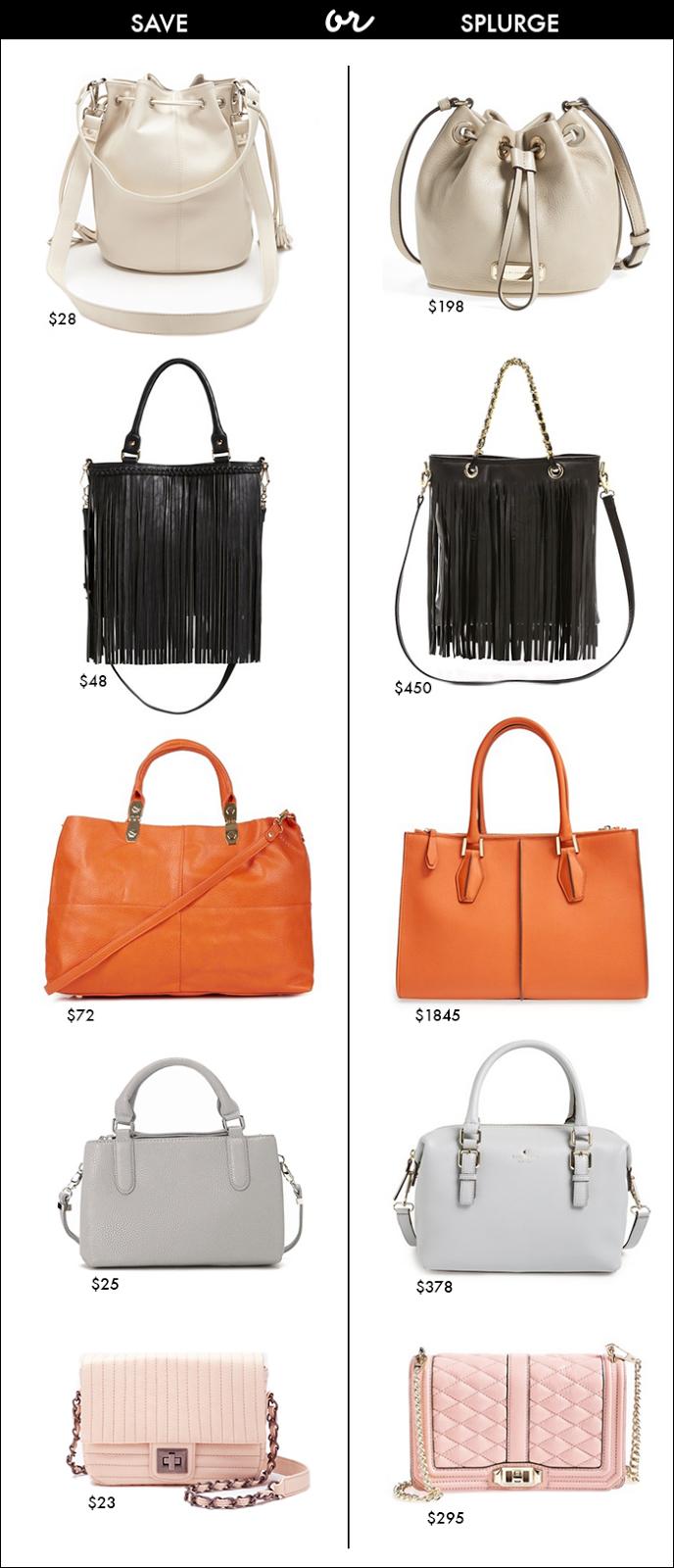 handbags for less, fringe, bucket, quilted, spring handbags, on sale handbags
