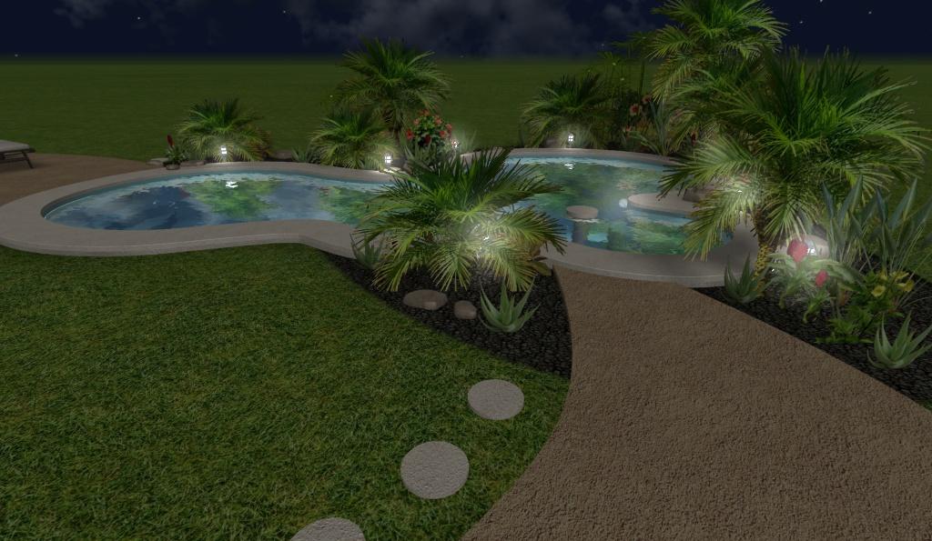 diseño 3D de piscina residencial, con luces de noche 1