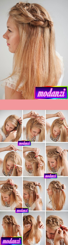 Yan Örgülü Düz Saç Modeli Nasıl Yapılır ? ( Resimli Anlatım )