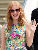 Jessica Chastain wears Red Sunglasses
