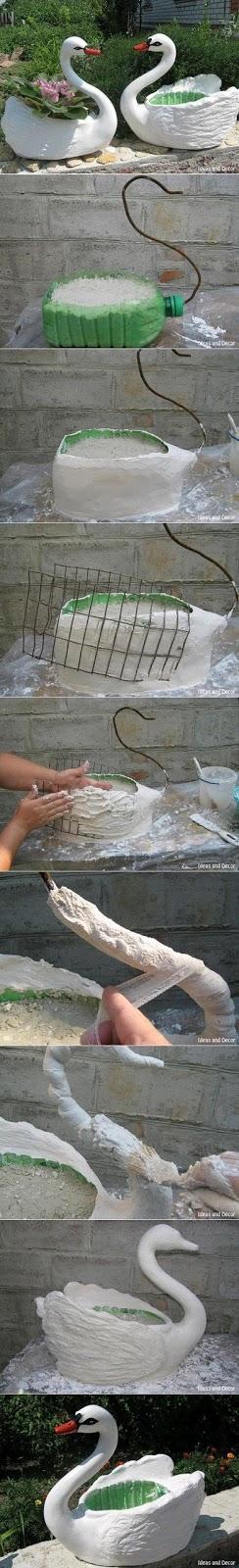 como fazer um cisne para o jardim passo a passo massa corrida galao de plastico