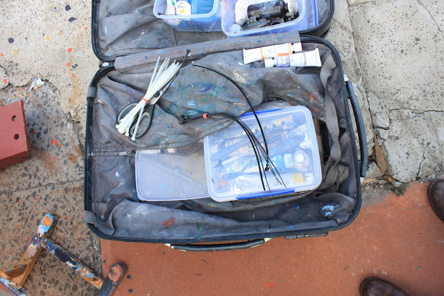 suitcase with studio equipment of plein air artist Jane Bennett