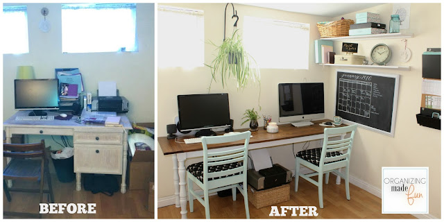Before/After Adorable, Organized Home Office in a Small Rental Home :: OrganizingMadeFun.com