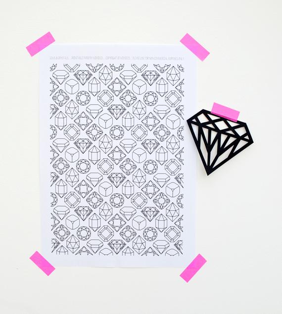 krystaly a drahokamy šablony