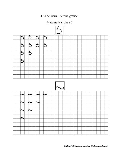 FISE Cu SEMNE Grafice Pentru Matematica Clasa I