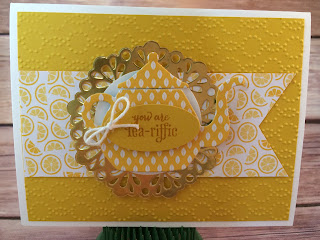 This yellow tea pot card uses Stampin' Up!'s A Nice Cuppa stamp set and the Cups & Kettle Framelits Dies - both from the 2016 Occasions Catalog.  It also uses the Have a Cuppa Designer Series Paper Stack and the Metallic Doilies.  www.stampwithjennifer.blogspot.com