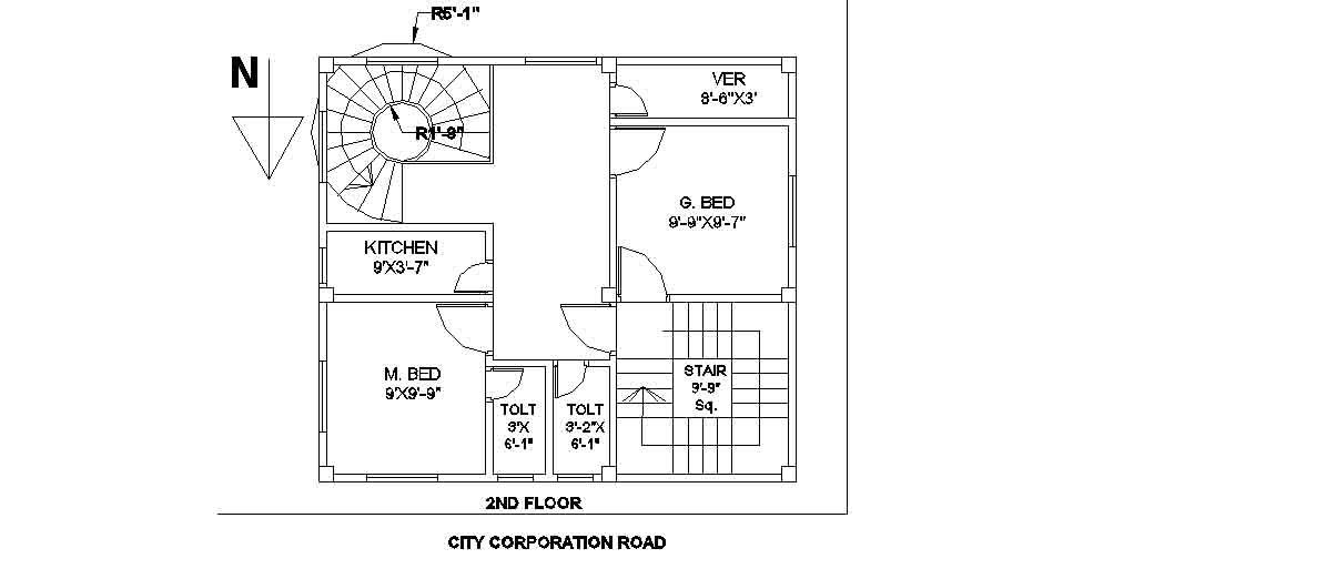 Civil engineering floor plans of building 27 ftx24 ft for Engineering house plans