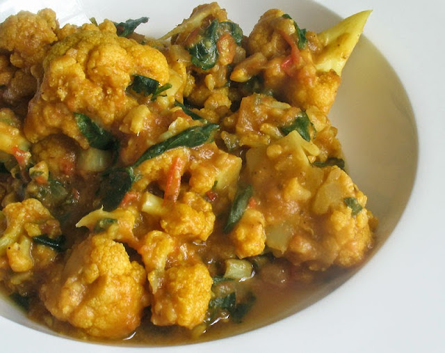 gently simmered cauliflower in tomato gravy