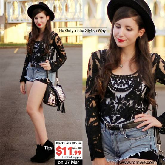 Black Lace Blouse in 3D