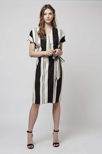black white stripe dress, wrap striped dress,