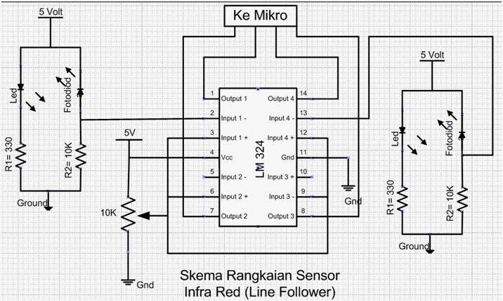 mikrokontroler atmel dan avr  skema rangkaian sensor robot