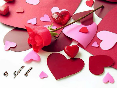 hearts with rose love you