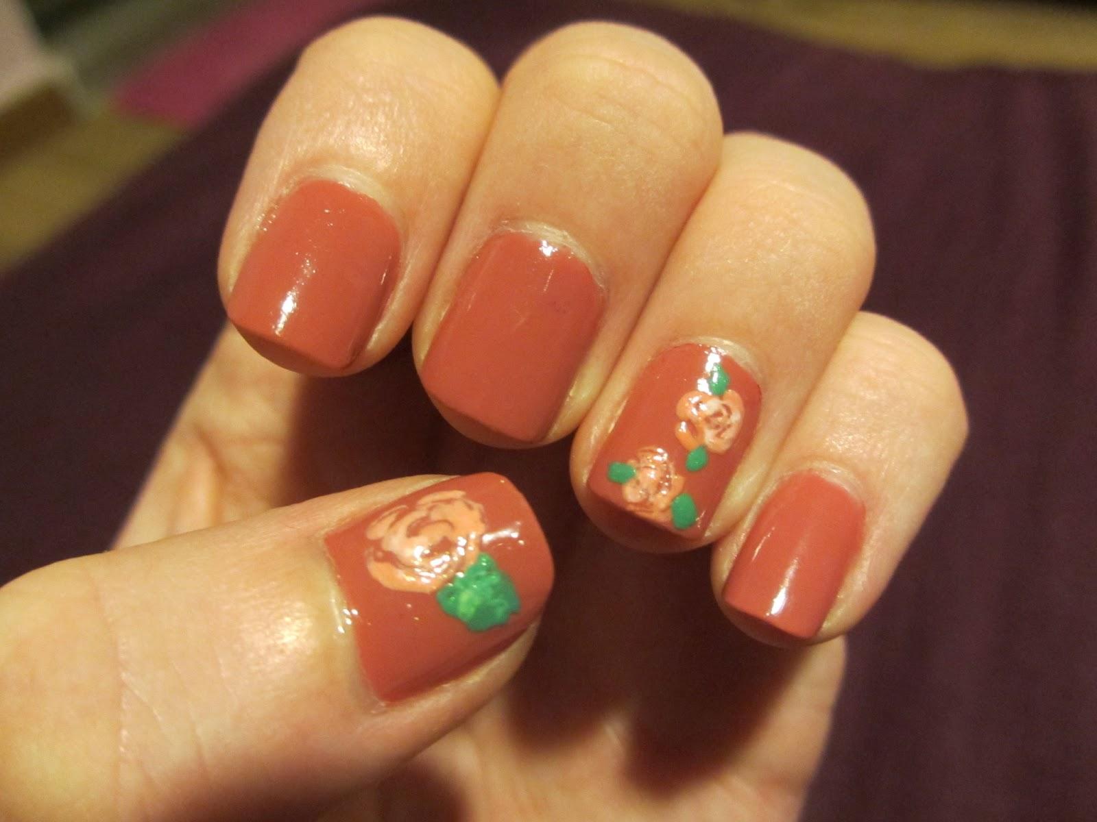 china glaze life is rosy nail art