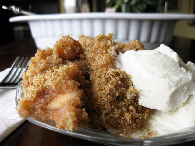 Photo of a dutch dessert made with applesauce and breadcrumbs