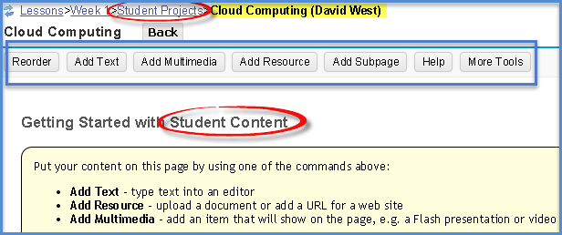 Student View of Student Content page