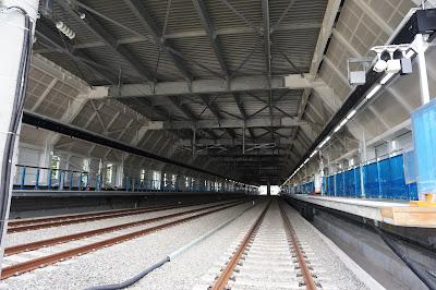 建設中の奥津軽いまべつ駅ホーム