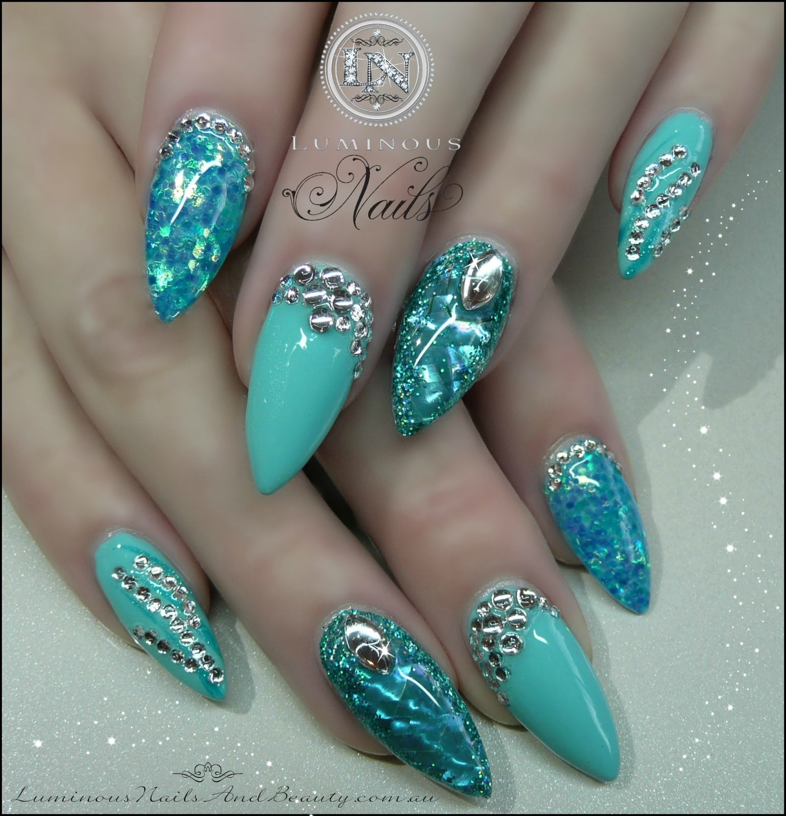 Light Blue Acrylic Nails With Glitter Hession Hairdressing