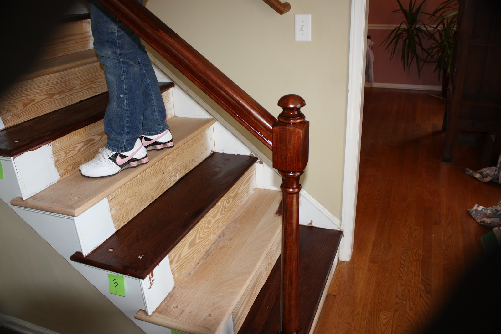My WH (wonderful Husband) And I Removed All The Brad Nails And Carpet Tack  Strips, Then We Filled All The Nail Holes And Sanded The Stair Treads Down.
