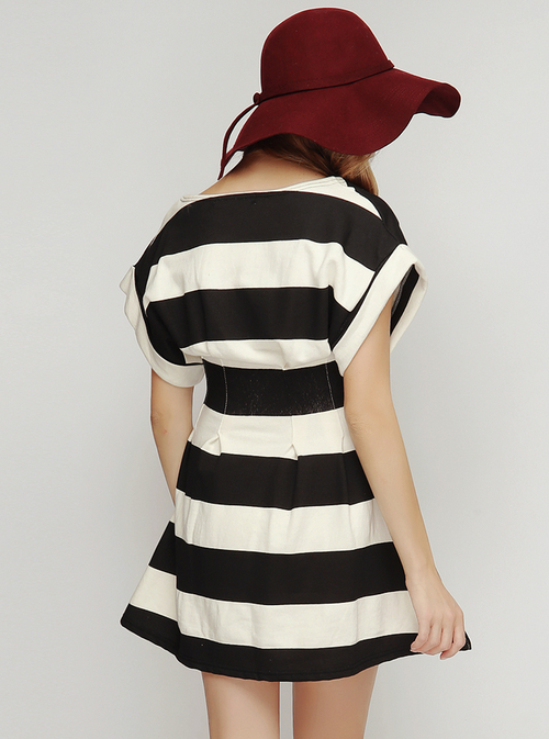 Striped Pintuck Dress