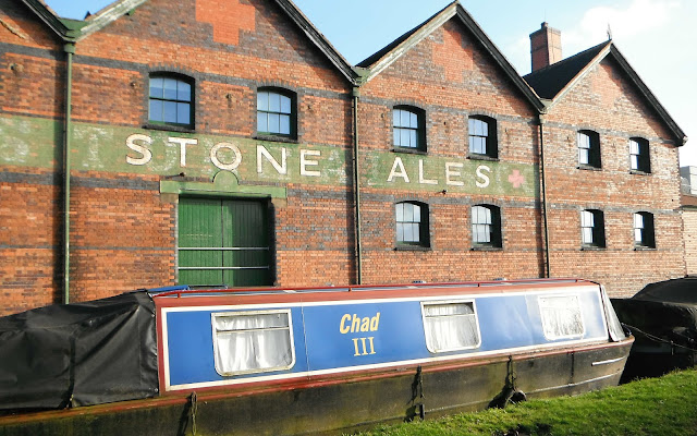 Narrowboat outside the old Joules Brewery