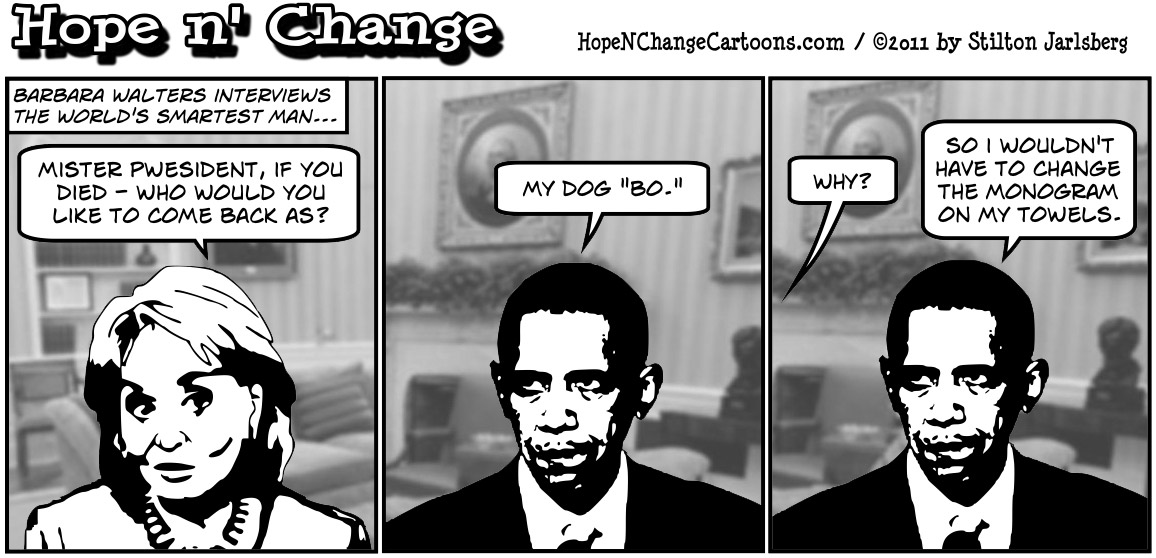 Barbara Walters asks Barack Obama stupid questions in interview, hopenchange, hope and change, hope n' change, stilton jarlsberg, political cartoon, tea party