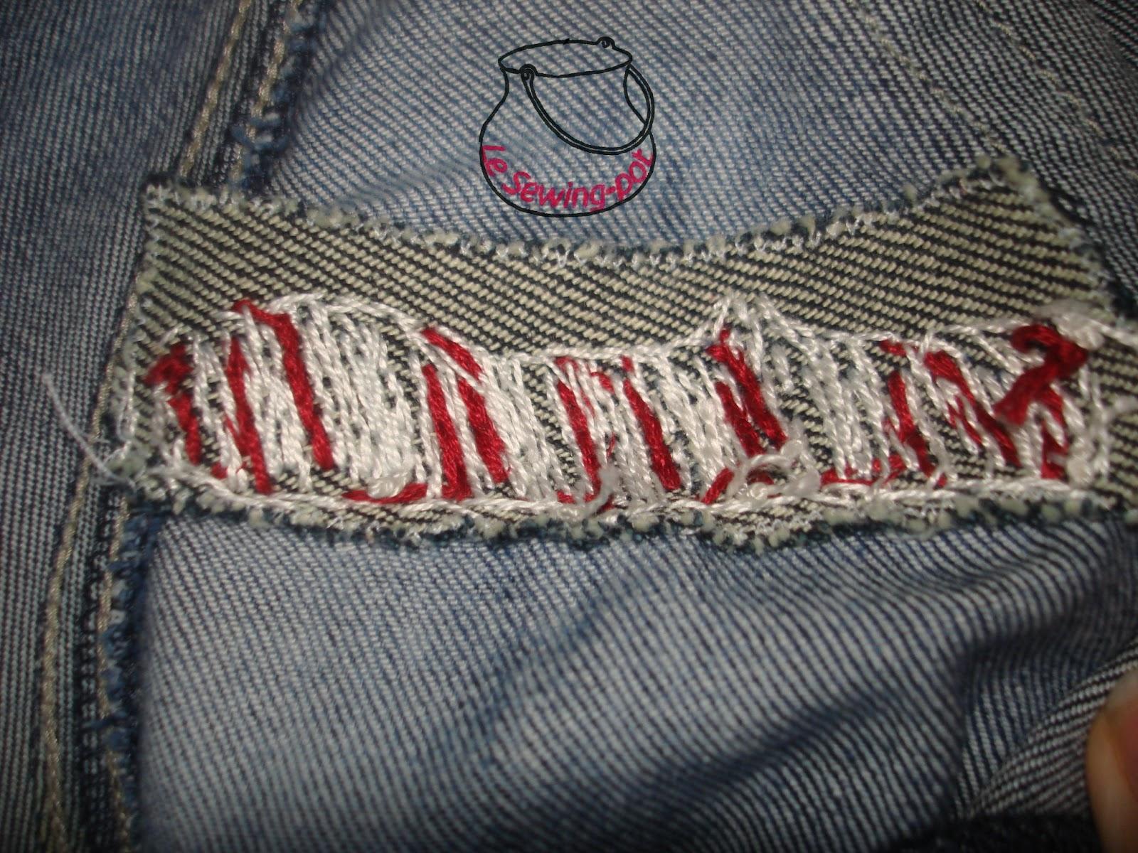 jeans réparé broderie