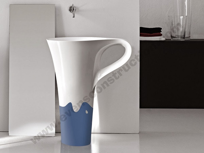 cup two tone freestanding basin design title=