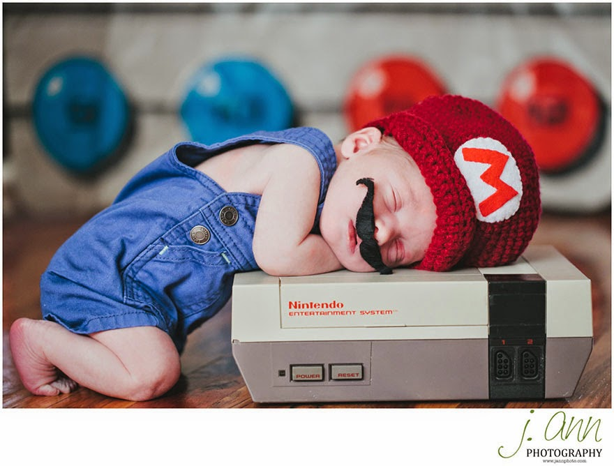 #2 Baby Mario - 22 Geeky Newborns Who Are Following In Their Parents' Nerdy Footsteps