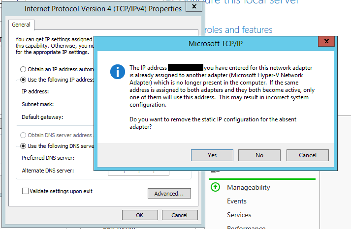 HYPER-V network adapter duplicate