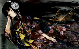 anime girl listening music headphone japanese dress hd wallpape