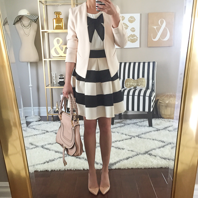Chloe marcie small leather satchel, Christian Louboutin pigalle nude pumps, Forever 21 bow top, Modcloth stripe it lucky skirt, Summer Work Outfit, Topshop molly petite nude blazer