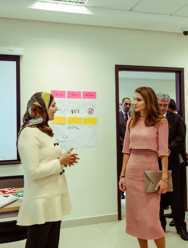 Queen Rania Al Abdullah visits the Jordan River Foundation and met with its staff members. Amman, Jordan