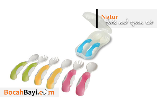 Natur Smart Fork and Spoon Set, sendok garpu bayi