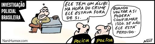 Tiras: Investigação policial brasileira. alibi