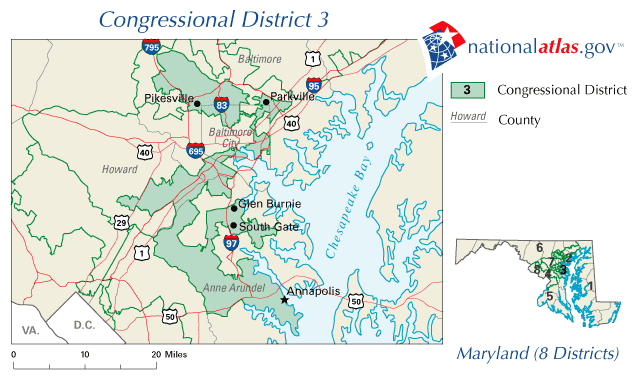 Gerrymandering at work. I present to you: Maryland\'s Third District ...