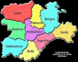 MAPA DE CASTILLA Y LEÓN DE ESPAÑA .