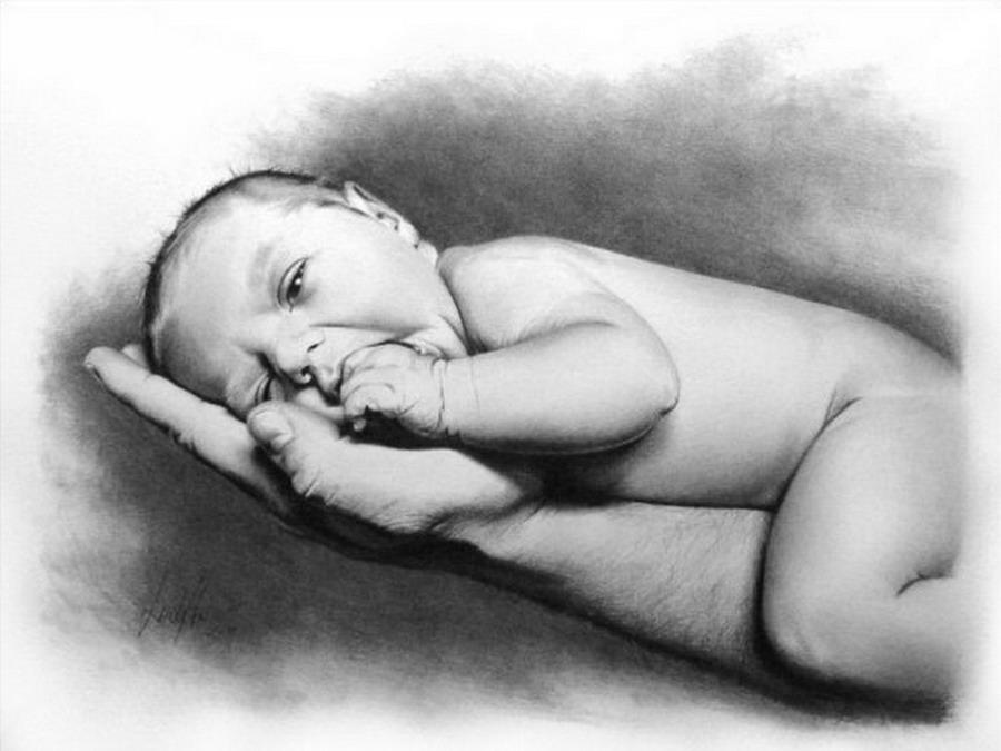 Imgenes Arte Pinturas Dibujos Rostros Bebes y Nios a Lpiz