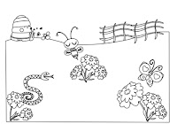 Bee, snake, and butterfly in flowers in farm animals coloring book by Robert Aaron Wiley for Microsoft Office Online