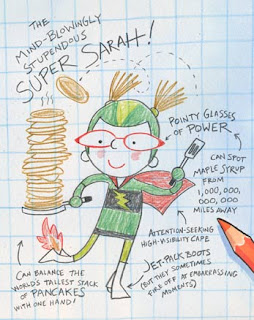 Sarah's 'self-illustration' from Superkid