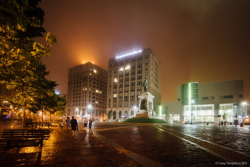 Portland, Maine USA August 2015 Monument Square on a foggy and misty night. Photo by Corey Templeton.