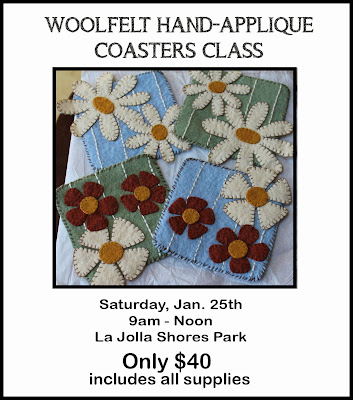 Woolfelt Applique Floral Coasters Class with Sue Allemand, La Jolla, CA, www.artatthebeach.net