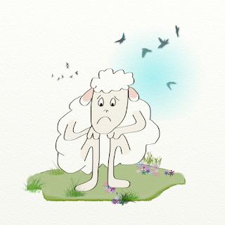 petite suite de 3 illustrations représentant un mouton dans diverses attitudes, réalisée par Florence Gobled, auteur de livres pour enfants et illustrateur jeunesse à Autun en Bourgogne
