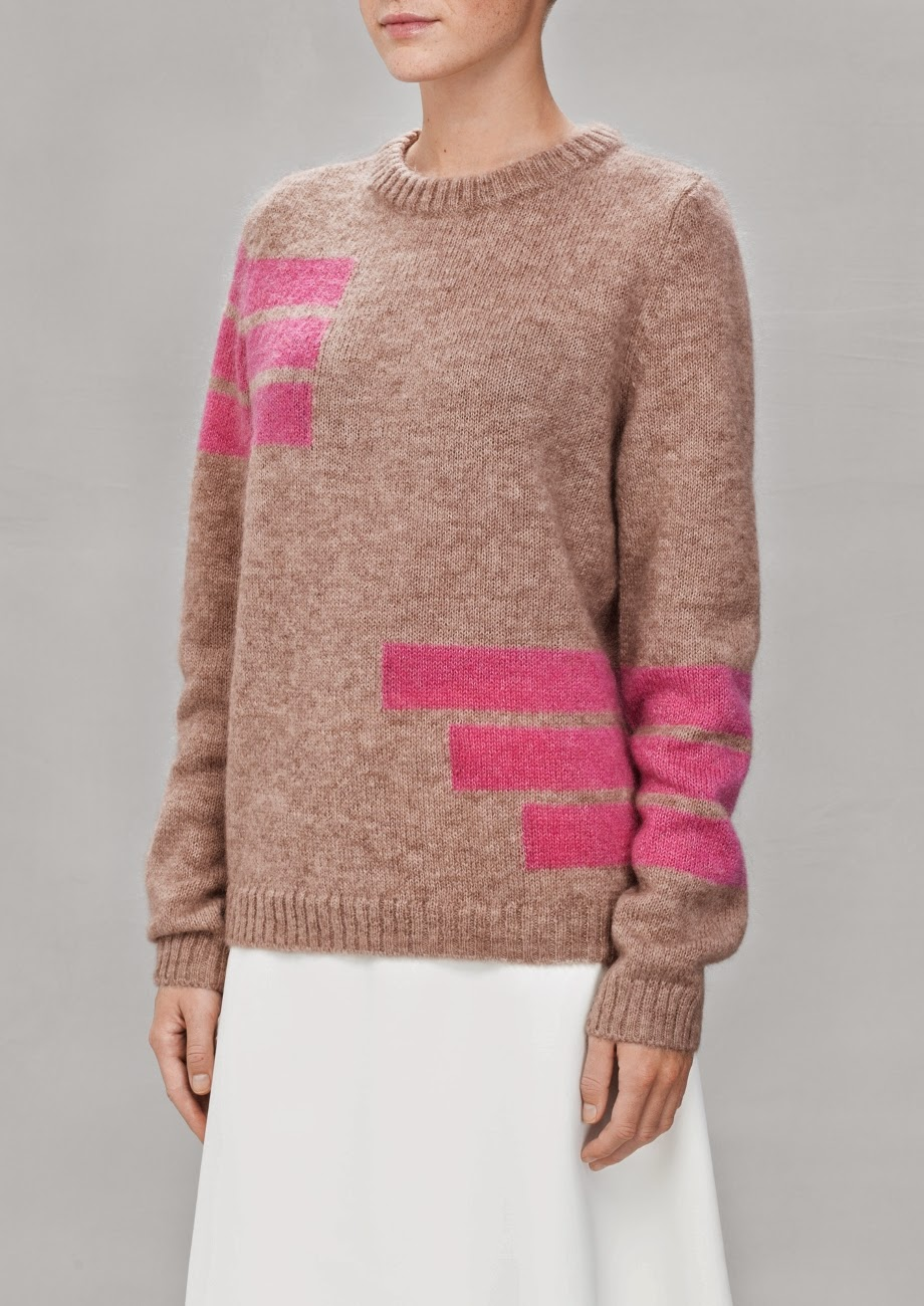 beige and pink jumper