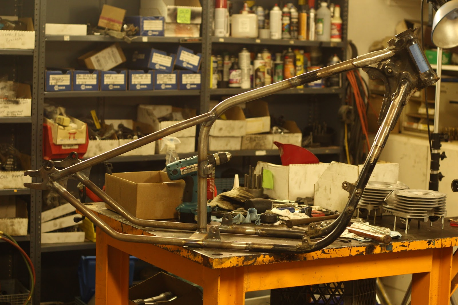 Old STF Cycle  Hardtail Honda cb750 frame part 3