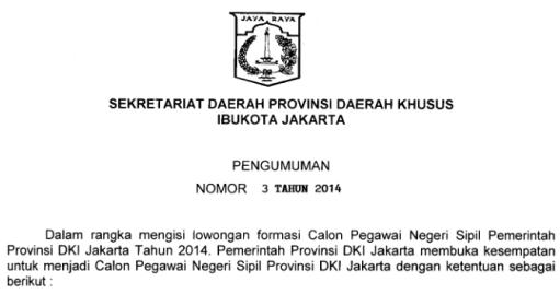Formasi CPNS 2014 DKI Jakarta Membutuhkan 350 Guru Kelas dan Agama Islam