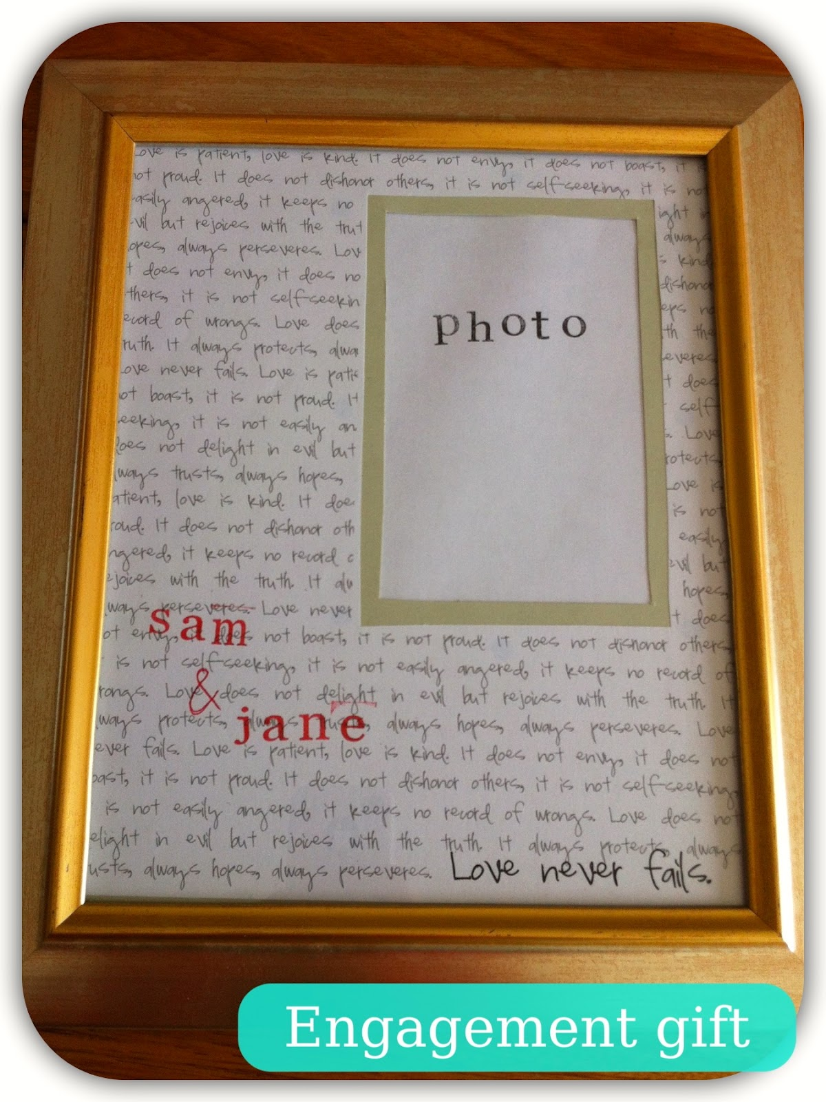 love jc: Easy DIY Engagement or Wedding Gift: Personalised Photo Frame