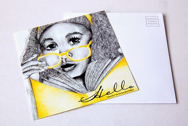 Yellow Girl Hello Postcard Personalized Invitation Card front image with matching white envelope